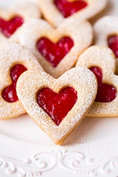Linzer Cookies with strawberry and raspberry jam
