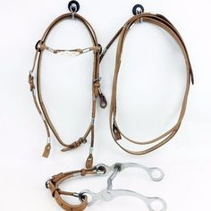 NATURAL LEATHER  WESTERN HORSE TRAIL BRIDLE HEADSTALL BIT REINS SHOW TACK SET