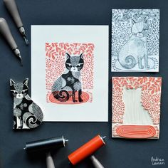 Andrea Lauren - licensing artist and textile designer specializing in handdrawn illustrations for kids. Handmade Stamps, Handmade Art, Stamp Printing, Screen Printing, Lino Art, Motif Art Deco, Andrea Lauren, Illustrator, Stamp Carving