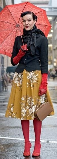 red, gold, and gray outfit. I don't think I could pull this off but she looks really cute to me.
