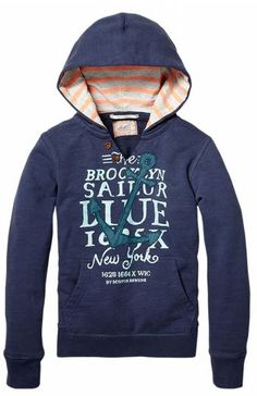Hooded college sweater with patches Scotch and soda Moda Junior 9df0dc666e251