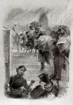 Marie Bracquemond (1840 -1916) - The Umbrellas - 1882 - Charcoal and white paint on paper - Cabinet des Dessins. Musée du Louvre, Paris