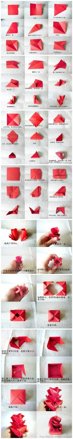 How to fold cute origami paper craft rose box for valentines day step by step DIY tutorial instructions How to fold cute origami paper craft...