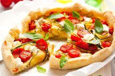 Leckere Sommerquiche mit Zucchini und Tomaten Hungrige 'Mäuler' kann man ganz einfach glücklich machen – frische Tomaten und Zucchini, (hoffentlich demnächst aus dem Garten) und ein knuspriger Mürbeteig-Boden fertig ist der Genuss! http://einfach-schnell-gesund-kochen.de/leckere-sommerquiche-mit-zucchini-und-tomaten/