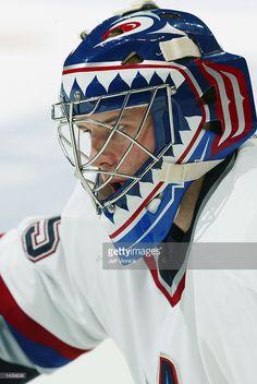 Alex Auld of the Vancouver Canucks mask Goalie Gear, Goalie Mask, Hockey Goalie, Hockey Teams, Vancouver Canucks, Masked Man, Mask Design, Airbrush, West Coast