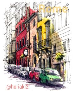 Akihito Horigome (@horiaki2) в Instagram: Street in Rome , Italy #aquarell #art #painting #watercolor #watercolour #sketch #paint #drawing #sketching #sketchbook #travelbook #archisketchery #sketchaday #sketchwalker #sketchcollector #traveldiary #topcreator #usk #urbansketch #urbansketchers #скетчбук #скетч #скетчинг #pleinair #aquarelle #watercolorsketch #usk #architecture #painting #illustration #rome #italy