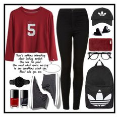 """""""School outfit #1"""" by nandinigautam ❤ liked on Polyvore featuring Keds, Topshop, CLUSE, Missguided, Chanel and Argento Vivo"""