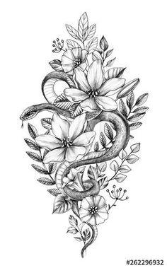 Hand drawn monochrome snake among flowers - buy this illustration and . - Hand Drawn Monochrome Snake among Flowers – Buy this stock illustration and explore similar illus - Tattoo Snake, Snake And Flowers Tattoo, Flower Tattoo Hand, Flower Thigh Tattoos, Hamsa Tattoo, Leg Tattoos, Arm Tattoo, Black Tattoos, Body Art Tattoos