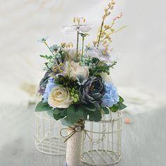 Gamle Bla Retro Elegant Te Bud Roser Brudebuketter Holder Blomster Bryllup Blomster