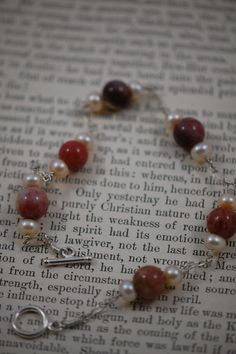 natural brown stone with fresh water pearl sterling by adgiggles, $20.00