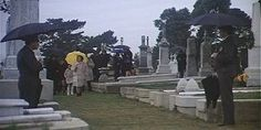 Harold and Maude 1971.  Ruth Gordon. Cemetery scene filmed at Holy Cross Cemetery in Colma CA.