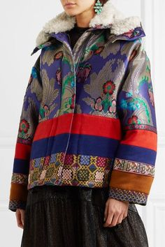 Etro - Oversized Shearling-trimmed Jacquard And Wool-felt Jacket - Blue