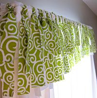 Valance made out of ribbons or strips of fabric