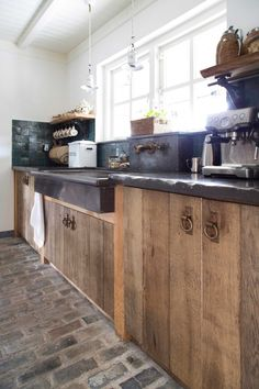 Kitchen doors try rustic red cedar research handles maybe leather straps?