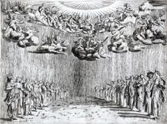 Agostino Caracci after Buontalenti, Pellegrina, 1589, 6. Intermedio: Apollo and Bacchus descending from Olymp to earth in company of the divine beings: harmony, grace, flora, planets etc.