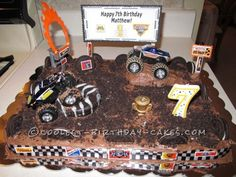 I did this Monster Jam themed cake for my son's birthday. It is a 1/4 sheet pan layered cake. I used a mix of chocolate and vanilla icing sprinkled wi...
