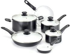 WearEver A630SA Nonstick Ceramic 10-Piece Cookware Set (Black)