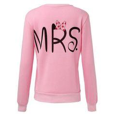 Casual Long Sleeve Tops Mr Mrs Printed Pullover Hoodies Couples Lovers Sweatshirt Men Women
