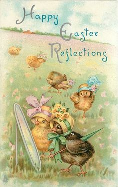 HAPPY EASTER REFLECTIONS  two chicks in fancy bonnets look in mirror,