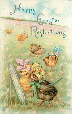 HAPPY EASTER REFLECTIONS  two chicks in fancy bonnets look in mirror,