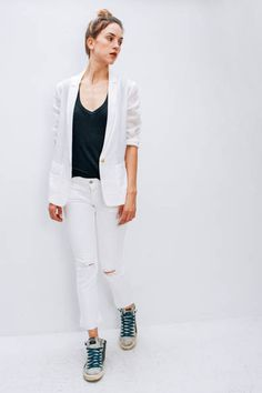 Lexi in Isabel Marant top, Giada Forte jacket and Closed jeans with Golden Goose sneakers   Shopheist.com