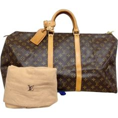 Pre-owned Louis Vuitton Keepall 55 Travel Bag ($535) ❤ liked on Polyvore featuring bags, luggage and none