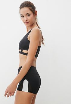 FOREVER 21 Mesh-Paneled Colorblock Workout Shorts $12.90