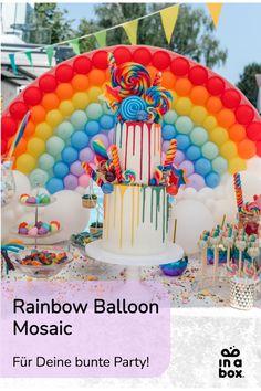 Mit unserem einfachen DIY Regenbogen Ballon Mosaik machst Du Dir jede Party garantiert etwas bunter! Ob ein veträumt bunter Kindergeburtstag, eine Einhornfete oder eine tolle Poolparty, der Regenbogen passt einfach in jedes bunte Setting und ist mit wenigen Handgriffen selbst gebastelt. Wir schicken Dir alles, was du dafür benötigst per in einer Box zu! Foto by Felicitas von Imhoff. Party Box, Diy Party, Diy Ballon, Rainbow Balloons, Party Decoration, Birthday Cake, Easy, Diy, Crafting