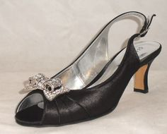 low heal black Bridesmaid Shoes | Womens Black Heels on Ladies Black Low Kitten Heels Sling Back Peep ...