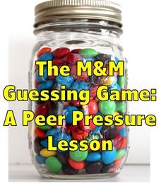 Peer Pressure Lesson: M& Guessing Game Teen Sunday School Lessons, Kids Church Lessons, Family Home Evening Lessons, Sunday School Crafts, Children Church, Bible Object Lessons, Bible Study For Kids, Bible Lessons For Kids, Kids Bible