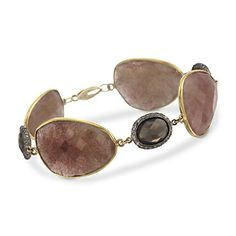 """50.00 ct. t.w. Pink and Smoky Quartz Bracelet With 1.05 ct. t.w. Natural Diamonds in Two-Tone. 7.5"""""""