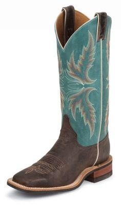 Justin Bent Rail Blue Puma Cowgirl Boots - Square Toe - Sheplers