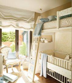 Cama alta y cuna-10 ideas para una habitación de dos o más · ElMueble.com · Niños