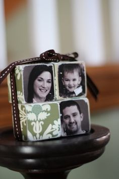 framed family photos: instead, give family photo blocks.  creative, displayable, & cute!