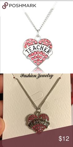 Teacher necklace Super cute silver tone crystal engraved heart teacher necklace about 18 inches + 2 inches extender ,,,makes a cute 🎁 New.  ,,,2 available Jewelry Necklaces
