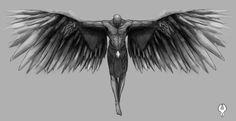 A tattoo design done for a friend based on David Beckhams fallen angel