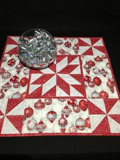 Christmas Star Quilted Table Topper Silver and Red Christmas