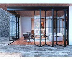 Custom Steel Grid Accordion Bi-Fold Glass Door - - Abby Iron Doors - September 26 2019 at Design Exterior, Door Design, House Design, Steel Windows, Windows And Doors, Iron Windows, Home Windows, Dark Doors, Modern Windows
