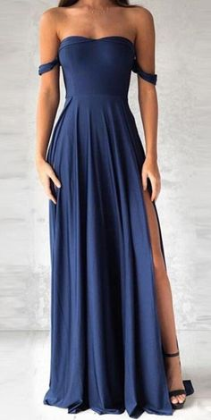 fashion off the shoulder Prom Dress,elegant navy blue