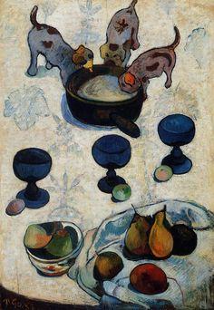 Still Life with Three Puppies, 1888, Paul Gauguin Size: 92.8x61.6 cm Medium: oil on panel
