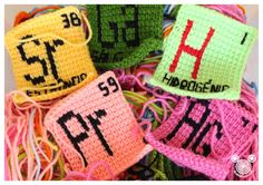 Periodic Table Crochet - Each rectangle represents one element where you can see the symbol, name and atomic number.