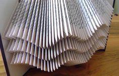 Folded book art, waves II, recycled book art by Dancing Grey Studio