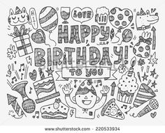 Happy Birthday Draw Vectores en stock y Arte vectorial | Shutterstock