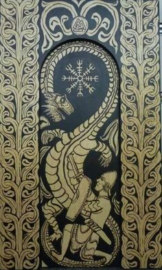 """Sigurd slays Fafnir by VillKriger24 """"An imiation of a Norse stave church portal, done in ink on wood rather than carved"""""""