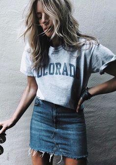 #fall #outfits  gray Colorado cap sleeved shirt and blue denim mini skirt