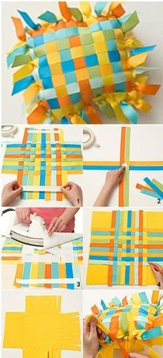 ribbon pillow This would look amazing with Darn Good Yarn's Sari Ribbons  http://store.darngoodyarn.com/collections/yarn/reclaimed-silk-ribbon-yarn