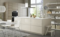 Bright VOXTORP IKEA kitchen with highgloss beige cabinets, stainless steel appliances and walnut effect Kitchen Cabinets Fronts, Beige Cabinets, White Kitchen Furniture, Modern Furniture, Kitchen Chairs, Kitchen Sets, New Kitchen, Kitchen White, Kitchen Small