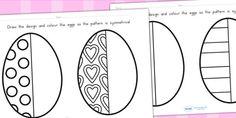Site met gratis downloads - Easter Egg Symmetry Sheets - easter, easter egg, symmetry, maths