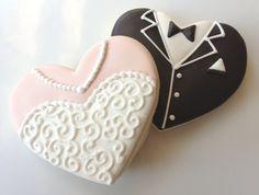 1 Dozen - Bride and Groom Heart Wedding Cookies. $36.00, via Etsy.