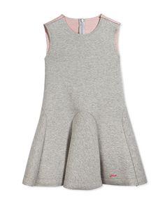 Fendi Sleeveless Neoprene Circle Dress, Gray/Coral, Size 2-10